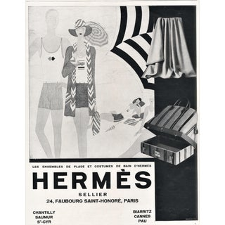 Matted Art Deco Hermes Beach Fashion Advertisement Print 1929 For Sale