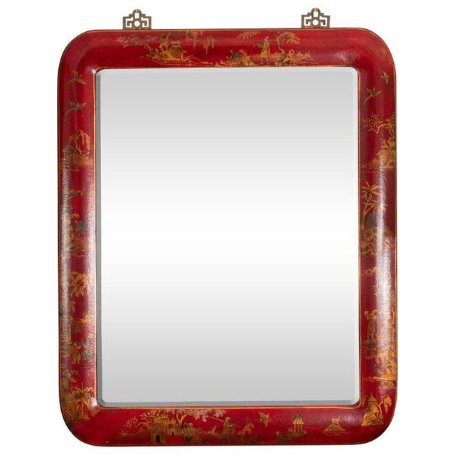 Chinoiserie Red Lacquered Mirrors - a Pair For Sale - Image 10 of 11