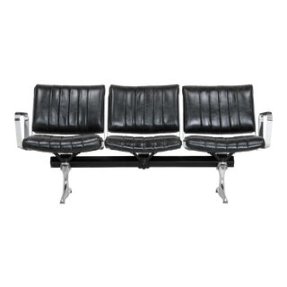 PDXoriginals Chromcraft Burnside Black Leather Studio Couch