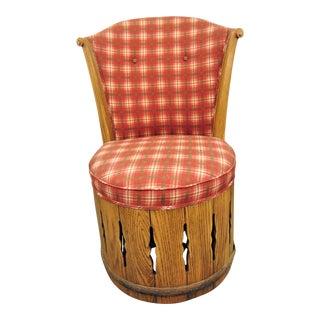 Rustic Oak Swivel Plaid Chair For Sale