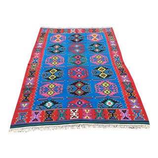 Blue Vintage Turkish Kilim Rug