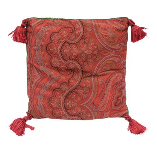 20th Century Contemporary Red Paisley/Leopard Print Silk Down Pillow For Sale