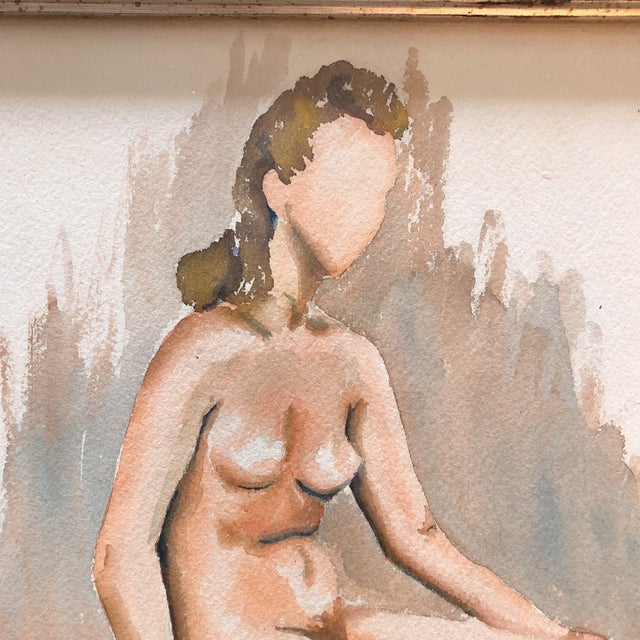 1940s 1940's Modernist Female Nude Original Watercolor For Sale - Image 5 of 7