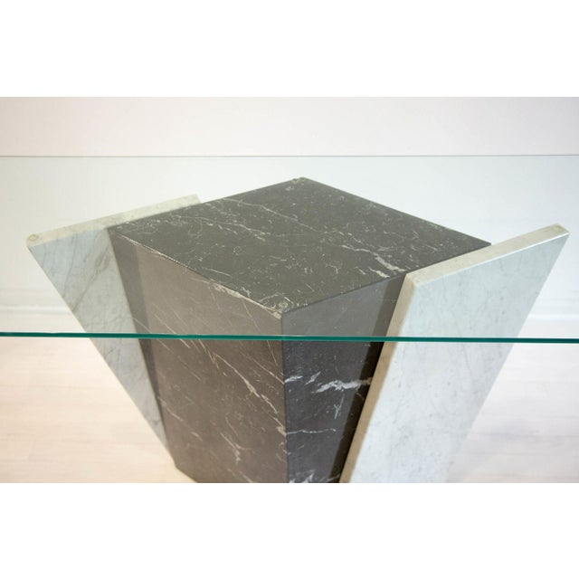 Mid-Century Modern Geometric Black and White Marble Console Table With Glass Top 1980's For Sale - Image 3 of 6