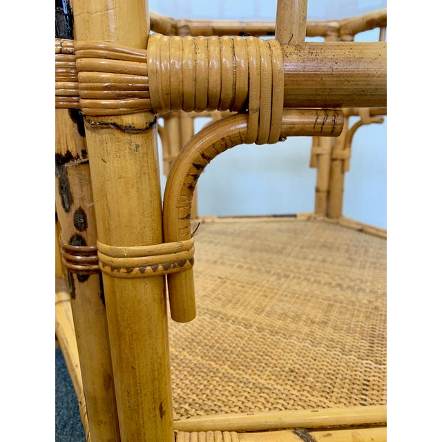 1960s Boho Chic Octagonal Rattan and Bamboo End Tables With Glass Tops - a Pair For Sale - Image 11 of 12