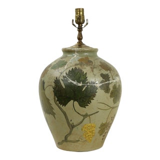 1970s Muted Light Green Vase Lamp With Hanging Yellow Grapes For Sale