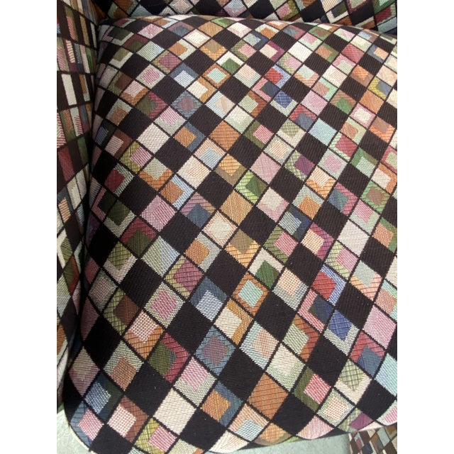 Pair of Vintage Lounge Chairs in Geometric Fabric. For Sale - Image 10 of 13