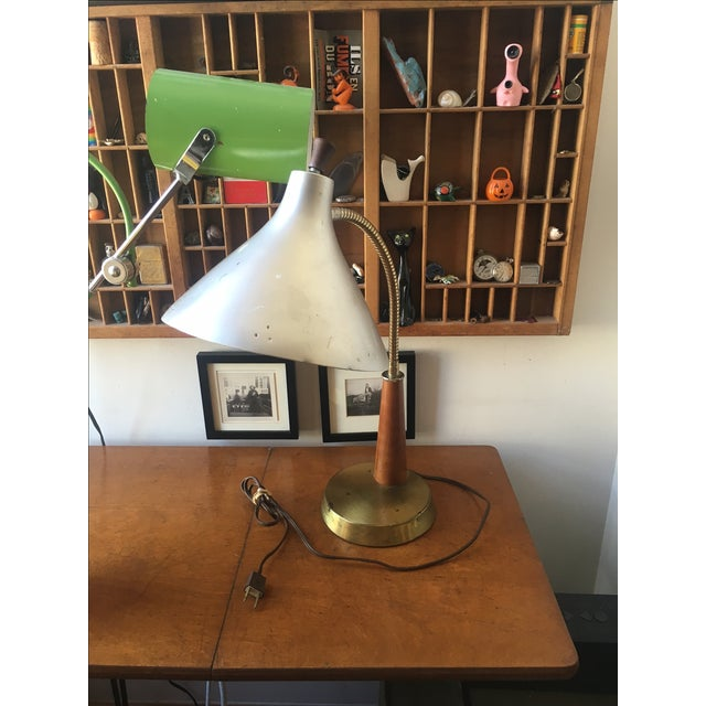 Vintage Metal & Wood Industrial Desk Lamp - Image 4 of 4