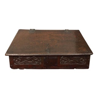 Antique 17th Century Charles II Oak Bible Box For Sale