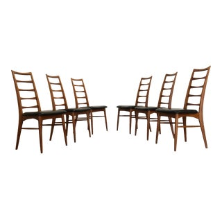 Niels Koefoed for Koefoeds Hornslet Lis Teak Ladder Back Dining Chairs - Set of 6 For Sale