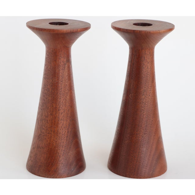 Mid-Century Turned Walnut Wood Candlesticks - A Pair For Sale - Image 9 of 9