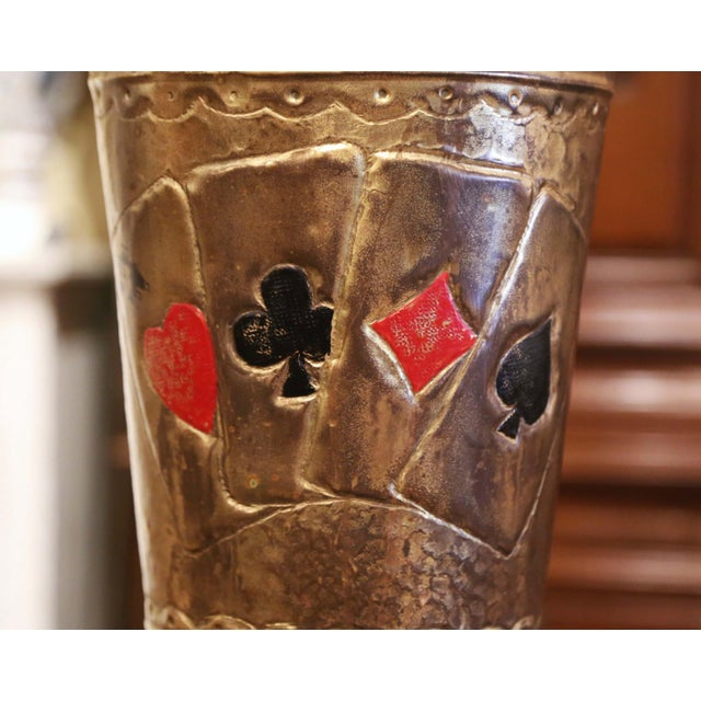 Early 20th Century French Brass Umbrella Stand With Playing Card Symbols For Sale - Image 4 of 13