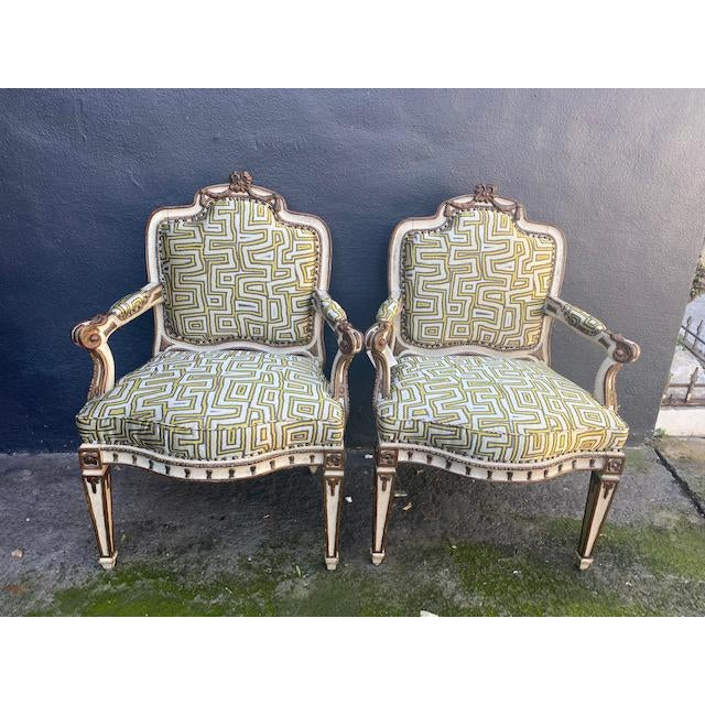 Pair of Early 19th C. Italian Painted Carved Arm Chairs. Perfect for a traditional home.