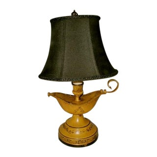 Aladdin Tole Lamp Yellow Black Rewired Early 1900 For Sale
