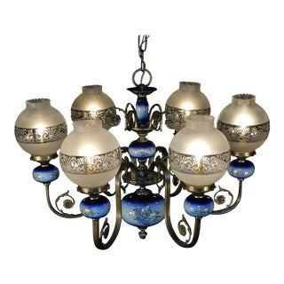Antique Victorian Pewter Finish 1950s Repo Gaslight Glass Globes Blue Porcelain For Sale