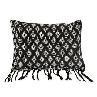 New Black Handloomed Ikat Boho Pillow
