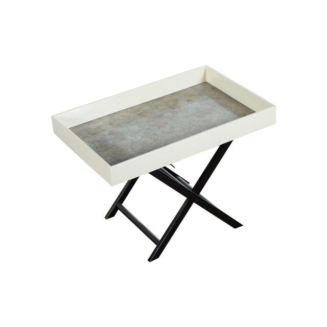 Mid Century Modern Shagreen Folding Tray Table - Image 1 of 10