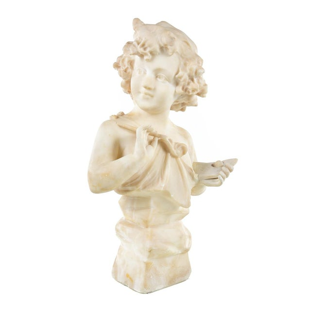 """19th century Antique Alabaster Sculpture of a Young Painter size 12 x 21"""" A beautiful piece that will add to your décor!"""