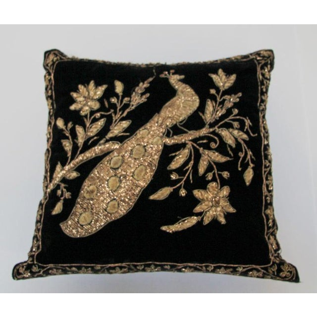 Black Velvet Throw Pillow Embroidered With Metallic Gold Threads For Sale - Image 13 of 13