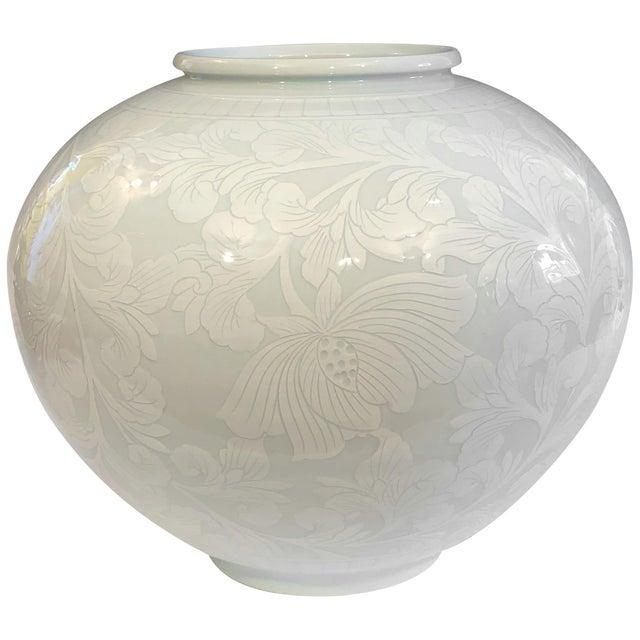 Ceramic Korean Studio Porcelain Large Moon White Vase Carved Slip Peony Scroll Jar For Sale - Image 7 of 7