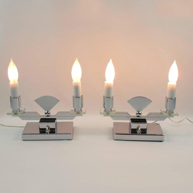 1930s French Art Deco Modernist Chrome Table Candle Lamp, a Pair For Sale - Image 5 of 10