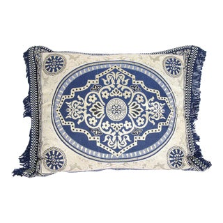 Vintage Moroccan Blue Bolster Lumbar Decorative Pillow For Sale