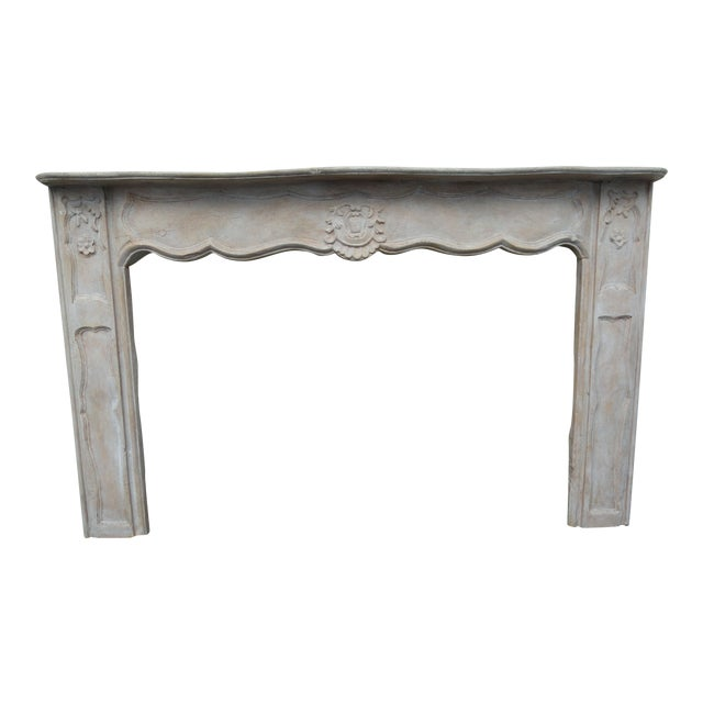 19th Century French Carved Wood Mantel For Sale