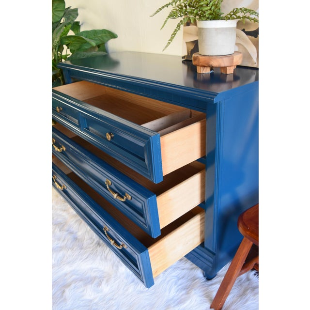 Vintage Blue Glossy Dresser For Sale - Image 9 of 10
