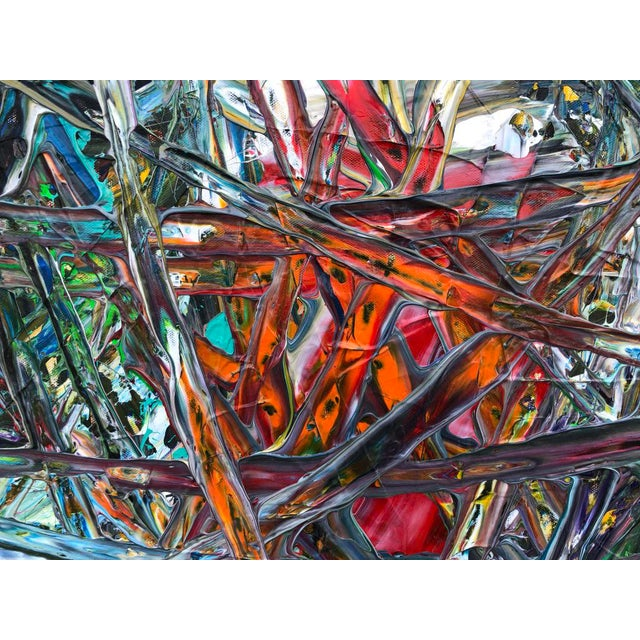 """Gold Acrylic Painting by Artist Troy Smith - 79"""" X 79"""" - Contemporary Art - Abstraction For Sale - Image 8 of 13"""
