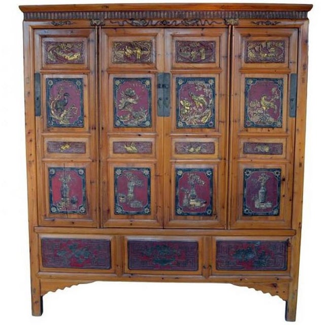 19th Century Antique Chinese Wide and Large Hand-Carved Gilt Wooden Cabinet For Sale - Image 11 of 11