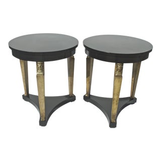 Baker Neoclassical Ebonized End Tables - a Pair