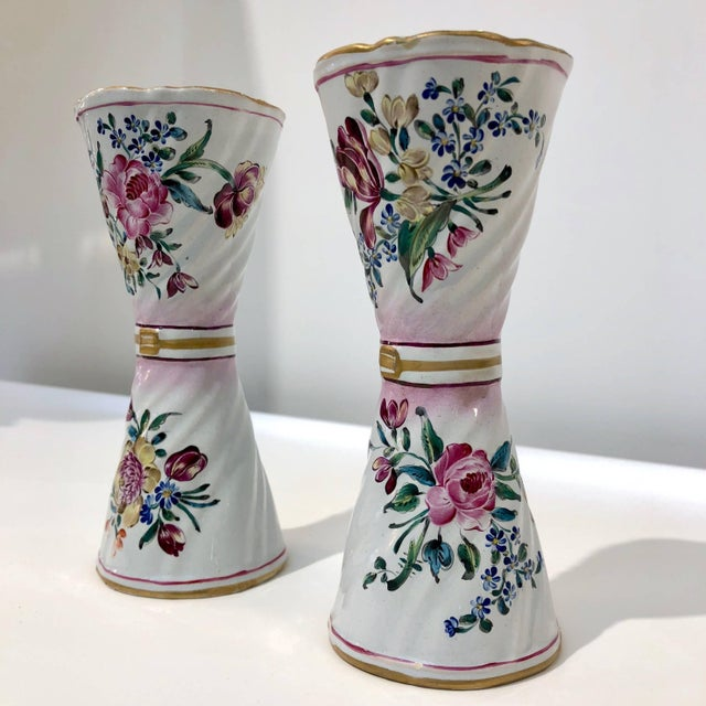 1870s St. Clement French Faience Majolica White Pink Flower Vases - a Pair For Sale - Image 9 of 13