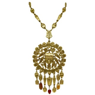 1960s Goldette Large Goldtone Egyptian Revival Necklace For Sale