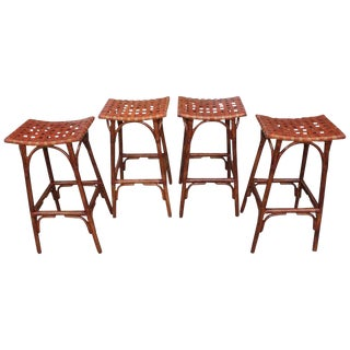 Mid-Century Modern Bamboo Stools - Set of 4 For Sale