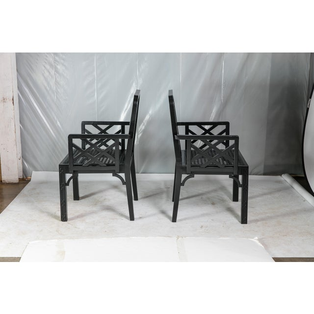 Asian 1980s Vintage Madcap Cottage Black Chinoiserie Fretwork Chairs-a Pair For Sale - Image 3 of 13