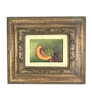 Vintage Mid-Century Framed Still Life with Fruit Painting For Sale