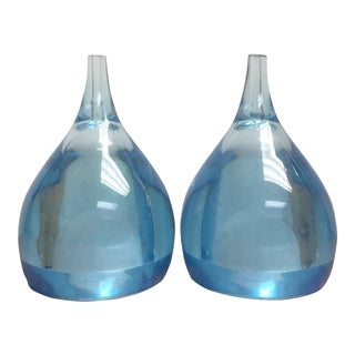 Seasoners Blue Lucite Salt and Pepper Shakers - A Pair