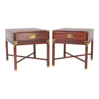 Mid-Century Mahogany Campaign Nightstands - A Pair For Sale