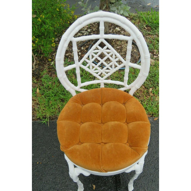 1970s Vintage Hollywood Regency Painted Iron Faux Bamboo Side Chair Stool by Kessler For Sale In Miami - Image 6 of 13