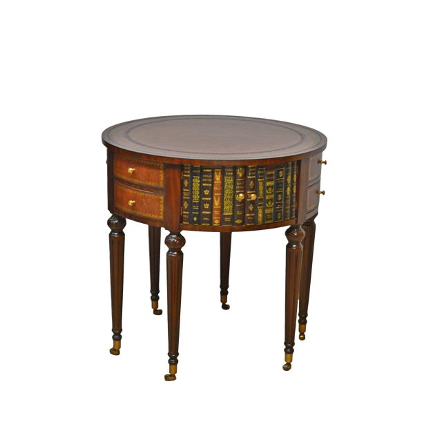 Maitland Smith Mahogany Book Leather Accent Round Hall Table For Sale