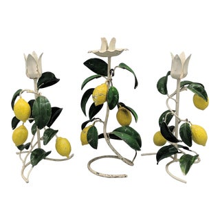 20th Century Italian Green and Yellow Lemon Tole Candle Holders - Set of 3 For Sale
