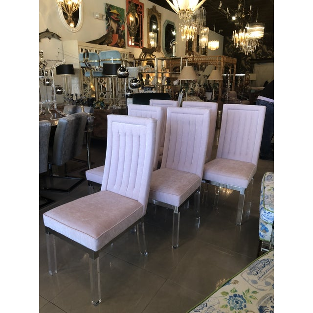 Silver Charles Hollis Jones Lucite Dining Chairs - Set of 6 For Sale - Image 8 of 12
