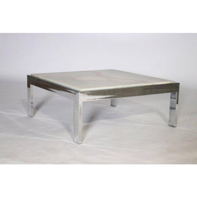 Pace Collection Steel and Marble Cocktail Table For Sale - Image 4 of 6