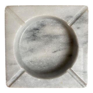 1960s Italian White Calacatta Marble Ashtray + Catchall For Sale