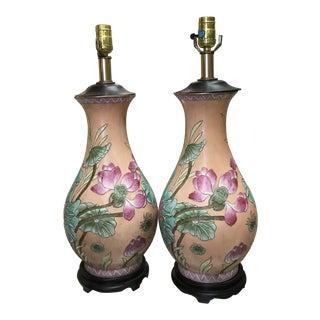 Bohemian Asian Ceramic Lamps - a Pair