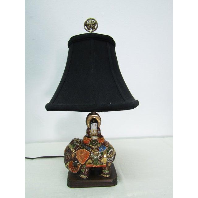 Metal Vintage Enamel Satsuma Moriage Elephant Lamp With Shade For Sale - Image 7 of 7