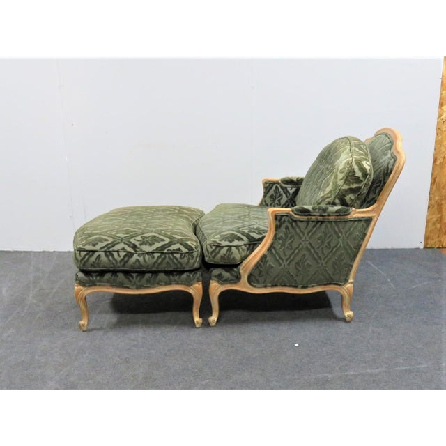 Louis XV style Bergere and ottoman, maple frame with white pickled finish, blue green cut velvet patterned fabric. Ottoman...