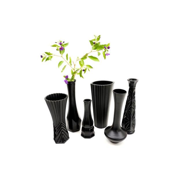Vintage Assorted Matte Black Bud Vases Chairish