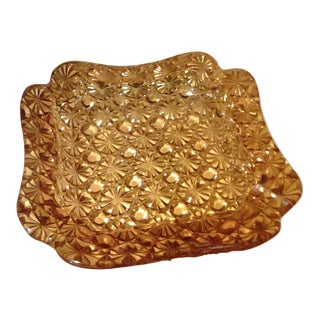 Vintage Square Amber Glass Ashtray