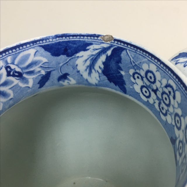 Antique 19th C. English Blue Transferware Pitcher - Image 6 of 8